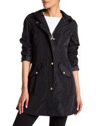 Betsey Johnson | Black Hooded Rain Jacket | Lyst