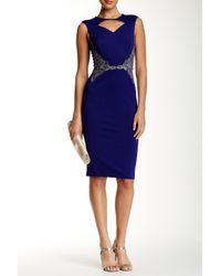 Little Mistress | Blue Cutout Embellished Bodycon Dress | Lyst