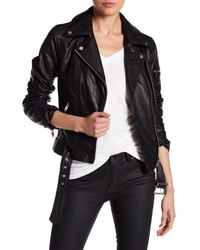 7 For All Mankind | Black Leather Asymmetricla Moto Jacket | Lyst