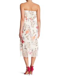 Lush | White Lace Trim Strapless Dress | Lyst
