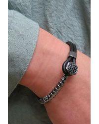 Liza Schwartz - Black Groovy Day Cz Leather Bracelet - Lyst
