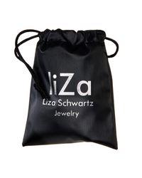 Liza Schwartz | 18k Gold Plated Sterling Silver Black Bar Leather Wrap Bracelet | Lyst