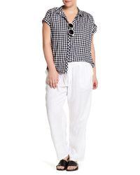 Allen Allen - White Drawstring Linen Pant (plus Size) - Lyst