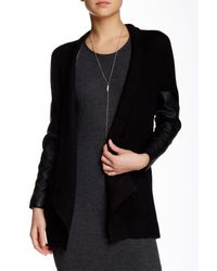Love Token - Black Casey Faux Leather Sleeve Knit Cardigan - Lyst