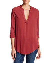 Bobeau - Red V-neck Long Sleeve Blouse - Lyst