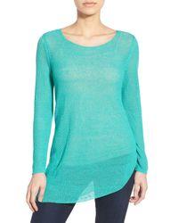 NIC+ZOE   Blue Asymmetrical Hem Knit Sweater   Lyst
