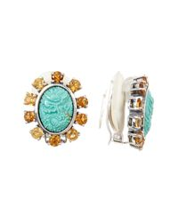 Stephen Dweck - Multicolor Carved Turquoise & Crystal Detail Clip-on Earrings - Lyst