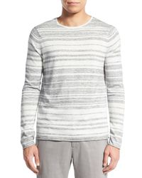 Vince - Gray Stripe Sweater for Men - Lyst