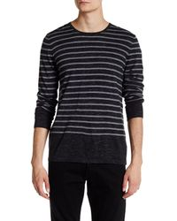 VINCE | Black Sporty Striped Crew Neck for Men | Lyst