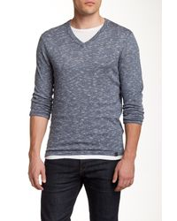 DKNY | Blue Space Dye V-neck Sweater for Men | Lyst
