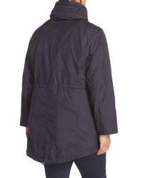 MICHAEL Michael Kors - Blue Water Repellent Hooded Anorak (plus Size) - Lyst