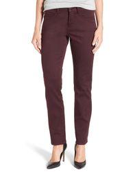 NYDJ | Purple 'sheri' Stretch Twill Slim Leg Pants | Lyst