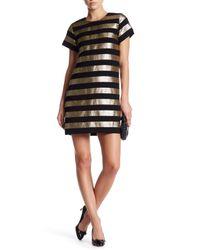 Marc By Marc Jacobs | Black Metallic Lame Crepe Shift Dress | Lyst