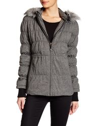 Blanc and Noir | Black Faux Fur Knit Down Anorak | Lyst