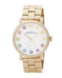 Marc Jacobs | Metallic Women's Crystal Embellished Baker Bracelet Watch | Lyst