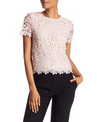 Catherine Malandrino - Pink Crochet Crew Neck Short Sleeve Shirt - Lyst