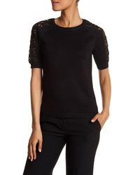 Catherine Malandrino | Black Lace Shoulder Short Sleeve Crew Neck Sweater | Lyst