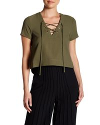 Catherine Malandrino | Green Short-sleeve Lace-up Crop Blouse | Lyst