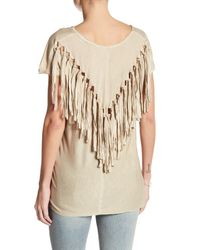 Miss Me | Multicolor Back Knotted Fringe Tee | Lyst