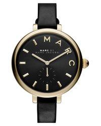 Marc Jacobs | Metallic Women's Sally Round Leather Strap Watch | Lyst