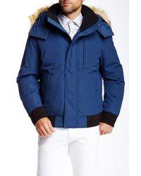 Marc New York | Blue Bristol Faux Fur Trimmed Down Jacket for Men | Lyst