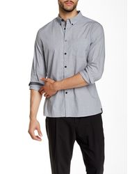 Kenneth Cole | Gray Solid Long Sleeve Shirt for Men | Lyst