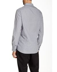 Kenneth Cole - Gray Solid Long Sleeve Shirt for Men - Lyst