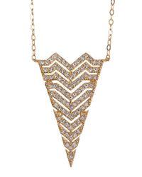 Nadri - Metallic Chevron Triangle Long Pendant Necklace - Lyst
