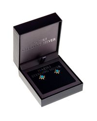 Nadri - Metallic 18k Gold Plated Sterling Silver Cz Turquoise Star Stud Earrings - Lyst