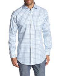 Peter Millar - Blue Nanoluxe Twill Tattersal Classic Fit Shirt for Men - Lyst