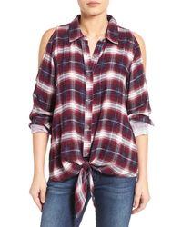 Bobeau | Multicolor Cold Shoulder Plaid Shirt | Lyst