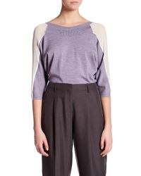 Lafayette 148 New York | Purple Contrast Sleeve Panel Dolman Silk Sweater | Lyst
