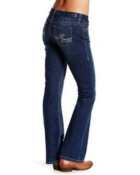 Seven7 - Blue Big Stitched Bootcut Jean - Lyst