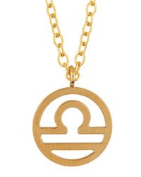 Kris Nations - Metallic 14k Gold Plated Zodiac Circle Pendant Necklace - Lyst