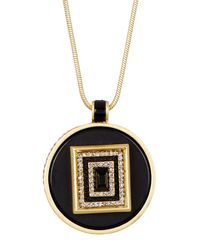 House of Harlow 1960 | Black Lady Of The Lake Circle Pendant Necklace | Lyst