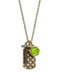 Nicole Miller - Metallic Hexagon Dog Tag Charm Long Necklace - Lyst