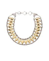 Sparkling Sage - Metallic Oval Beaded Bib Necklace - Lyst