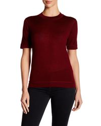 DKNY - Red Short Sleeve Wool Blend Pullover - Lyst