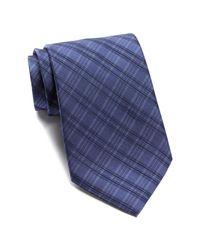 John Varvatos | Blue Wide Silk Plaid Tie for Men | Lyst