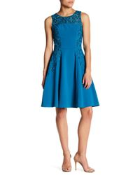 Sue Wong | Blue Embroidered Lace Trim Dress | Lyst
