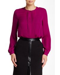 Laundry by Shelli Segal | Purple Pleated Accent Long Sleeve Blouse | Lyst