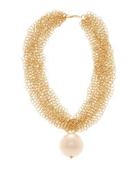 Carolee | Metallic Multi-chain & Oversized Simulated Pearl Necklace | Lyst