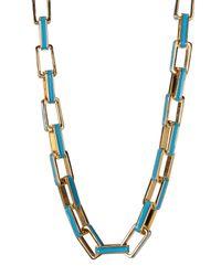 Carolee - Metallic Two-tone Enamel Link Necklace - Lyst