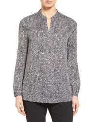 Nordstrom Collection - Multicolor Split Neck Print Stretch Silk Blouse - Lyst