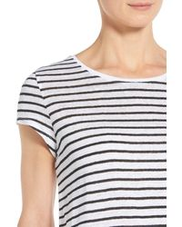 Nordstrom Collection | Black Cap Sleeve Stripe Linen Tee | Lyst