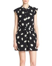 kate spade new york - Black 'daisy Dot' Floral Print Crepe Romper - Lyst