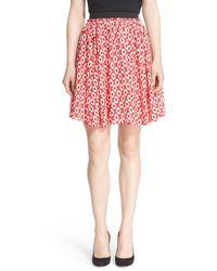 kate spade new york | Red 'posy Ikat' Print Full Skirt | Lyst