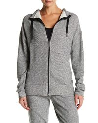 Nicole Miller | Gray Funnel Neck Knit Zip-up Hoodie | Lyst