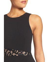 BCBGMAXAZRIA Black Lace & Crepe Gown