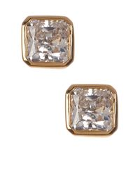 Nadri | Metallic Cz Square Stud Earrings | Lyst